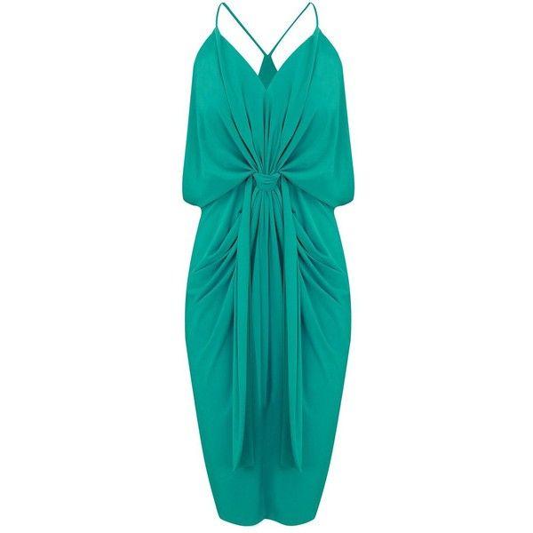 MISA Los Angeles Domino Spaghetti Strap Dress - Jade (€260) ❤ liked on Polyvore featuring dresses, jade, v neck dress, blue spaghetti strap dress, blue midi dress, v-neck dresses and v neck midi dress