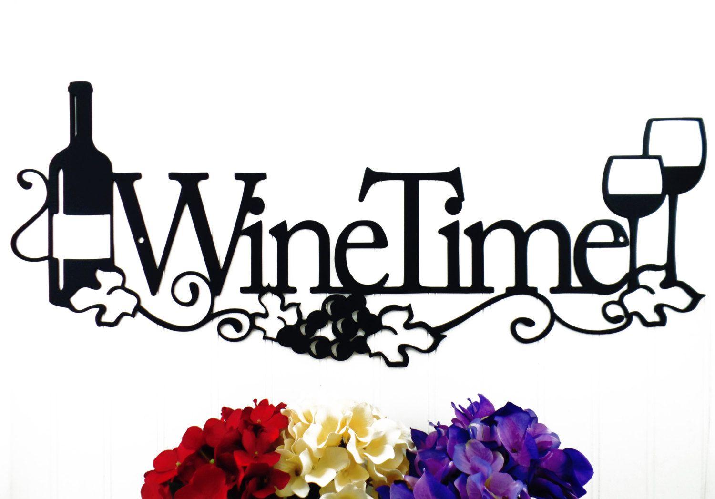 Wine time metal sign wine decor metal wall art kitchen decor