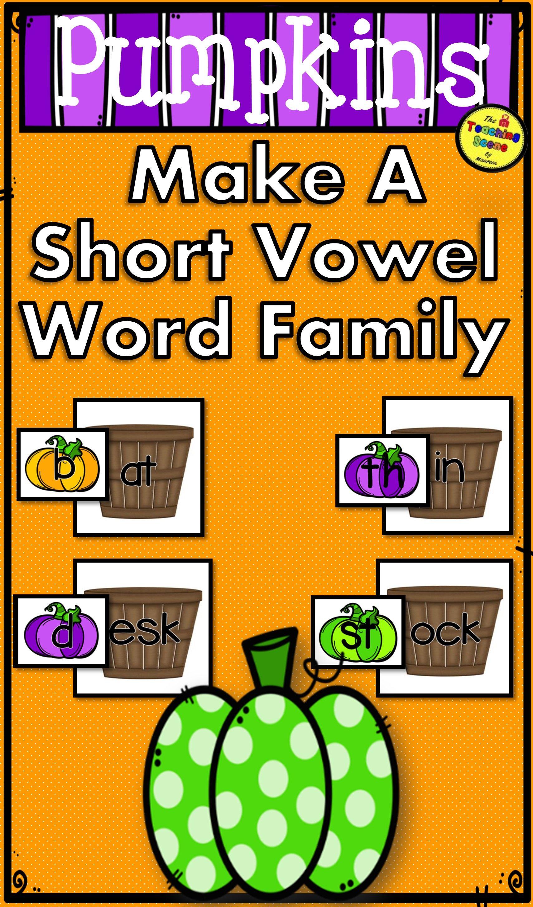 Pumpkins Make A Short Vowel Word Family Center