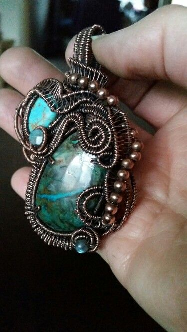 Chrysacolla, lab and magnasite multi stone pendamt wrapped in ...