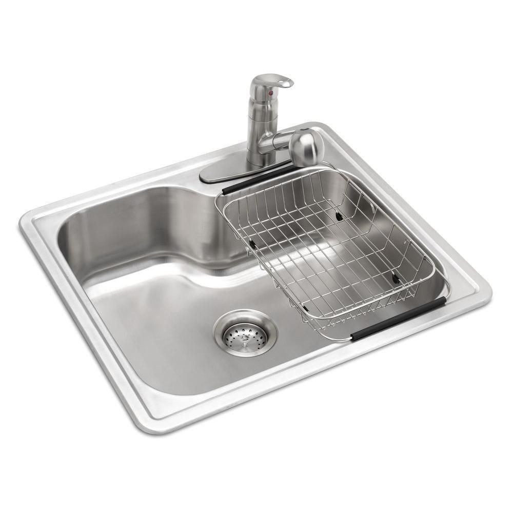 Glacier Bay All In One Drop In Stainless Steel 25 In 3 Hole Single Bowl Kitchen Sink Vt2522f1 The Home Depot Single Bowl Kitchen Sink Single Basin Kitchen Sink Sink