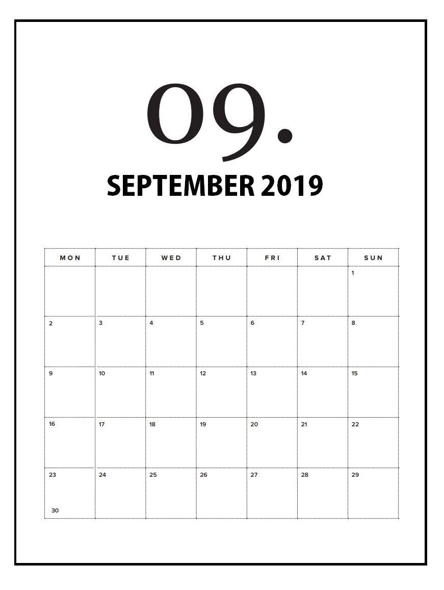 Print September 2019 Wall Calendar Wall Calendar Print Calendar