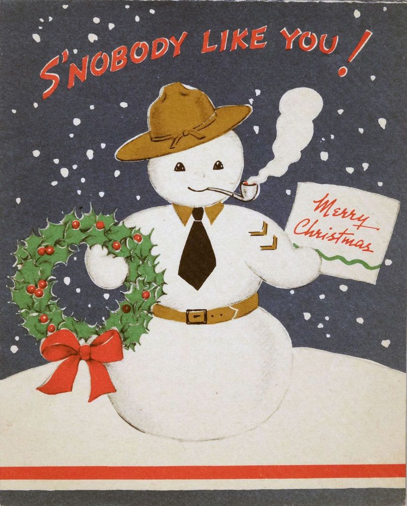 Patriotic Wwii Us Army Snowman Vintage Christmas Card Greeting
