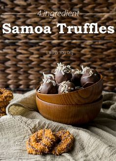 Samoa Truffles! Just like the classic girl scout cookie, but in a deliciously chocolate covered truffle!