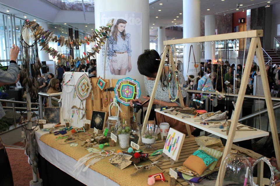A frame tabletop display with a little bench... so many possibilities! ~ Auckland Art & Craft Fair