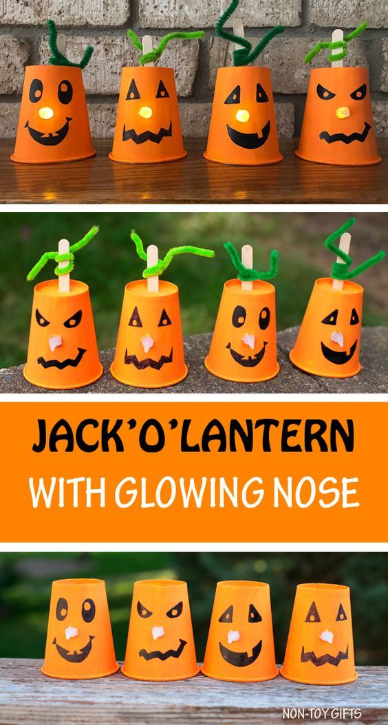 Paper Cup Jack'O'Lantern With Glowing Noses - Hall
