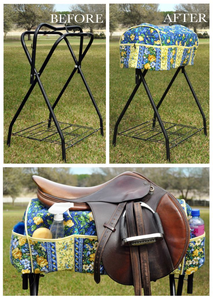 I think you could order it converted it to   fit on a Trail Rider Horse Trailer Saddle Rack. - Leave a slit up the back and   add some velcro or snaps to help secure it onto your trailer's saddle rack.    Saddle Rack Cover - Help keep yourself organized in your Trail Rider Horse   Trailer.