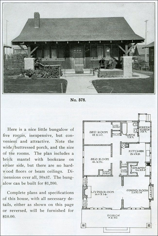 House 1910 Design No 578 From The Bungalow Book By Henry Wilson 1910 In 1900 Only One Out Bungalow Homes House Plans With Pictures Bungalow Floor Plans