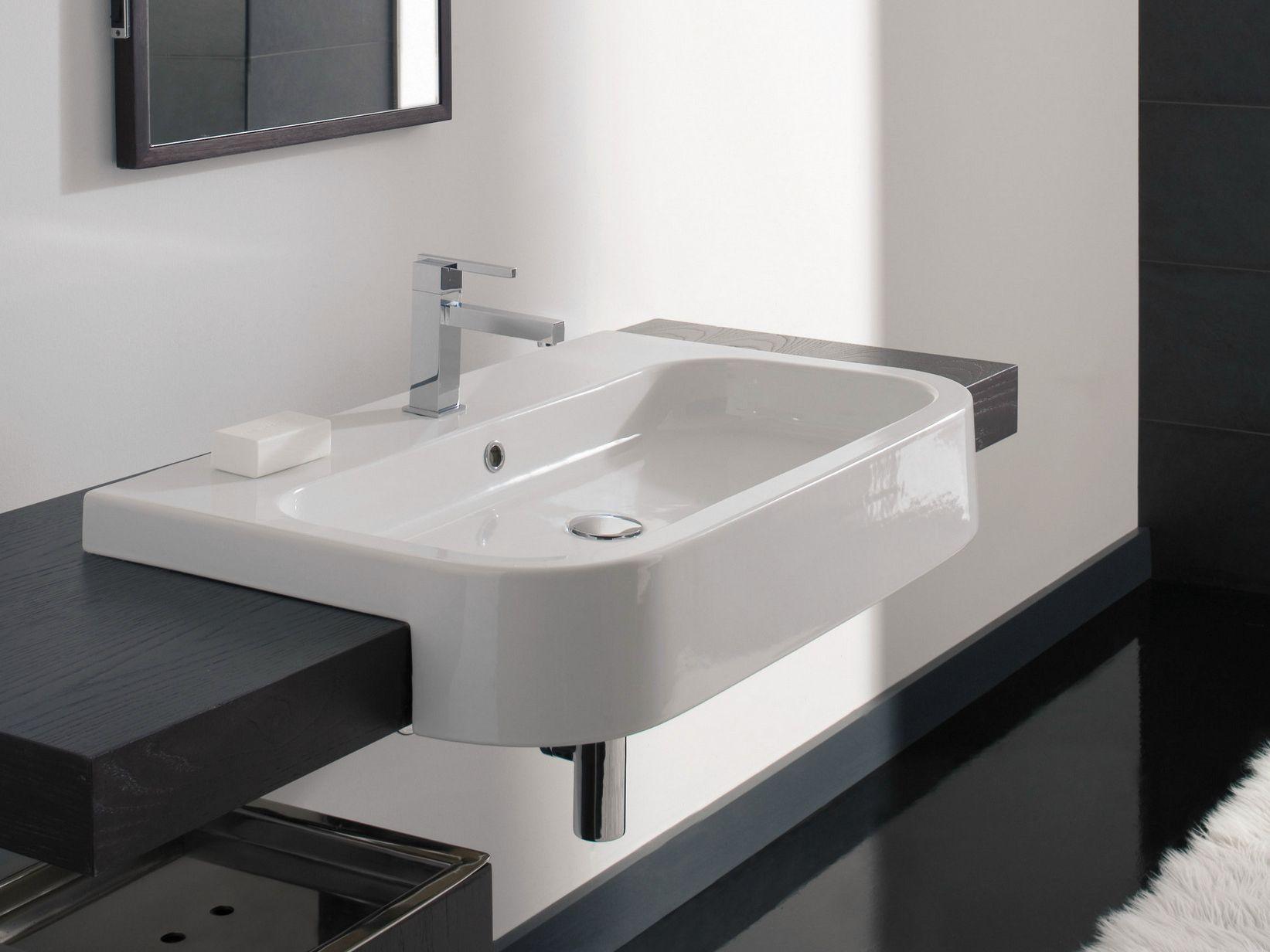 Lavabo semi-encastré rectangulaire en céramique NEXT 80D by Scarabeo ...