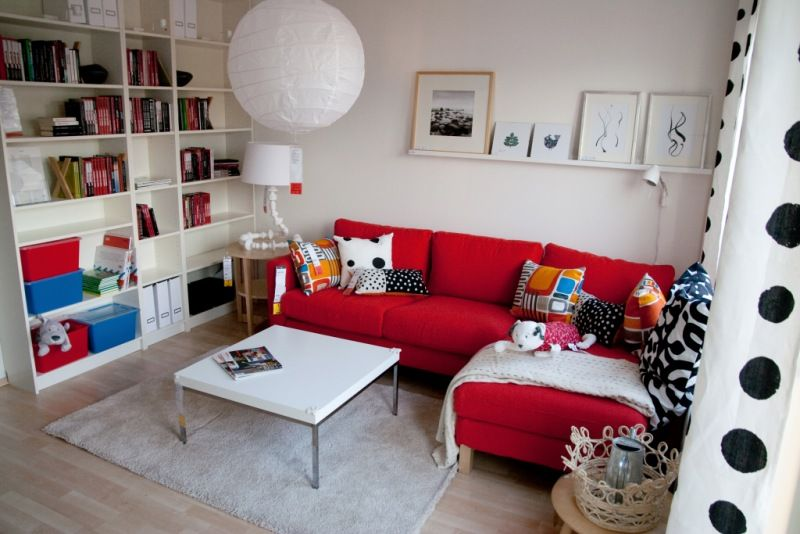 Small living room idea - red couch with chaise lounge - square ...