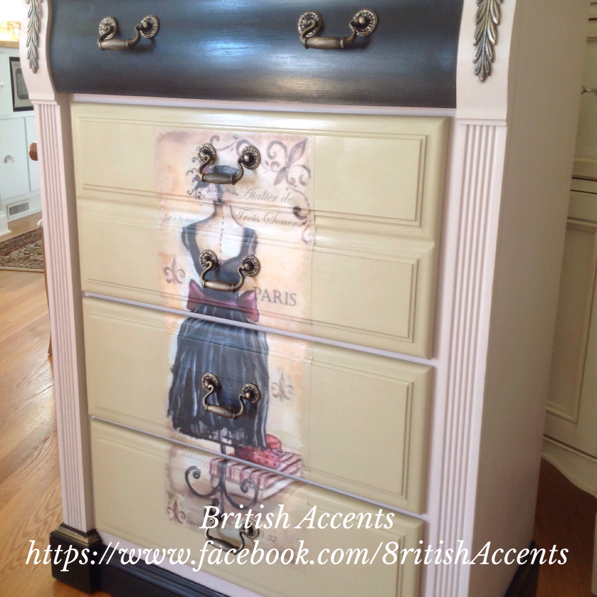 Hand painted and decoupaged dresser https://www.facebook.com/8ritishAccents
