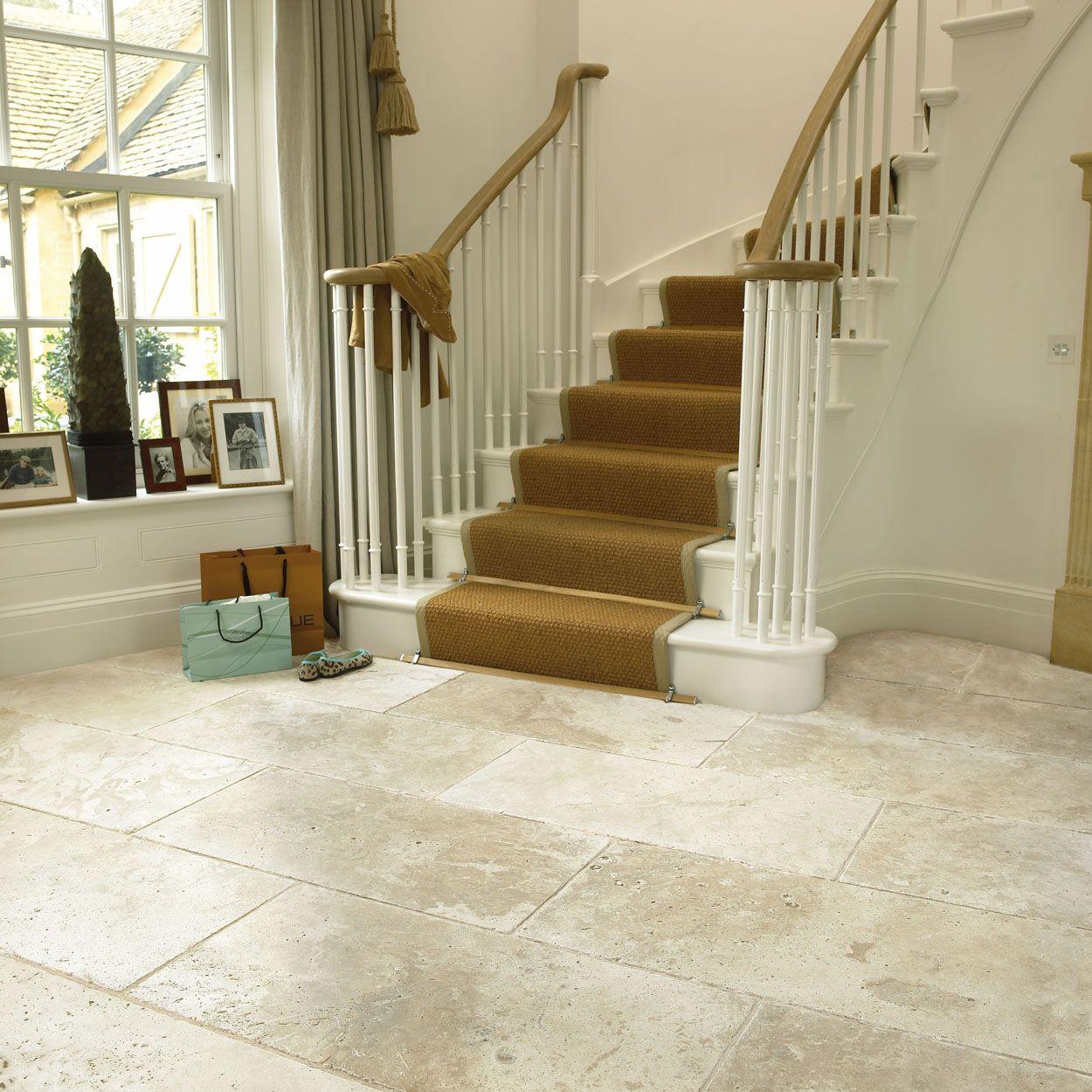 Classical Flagstones Savannah White Travertine Tiles Tumbled