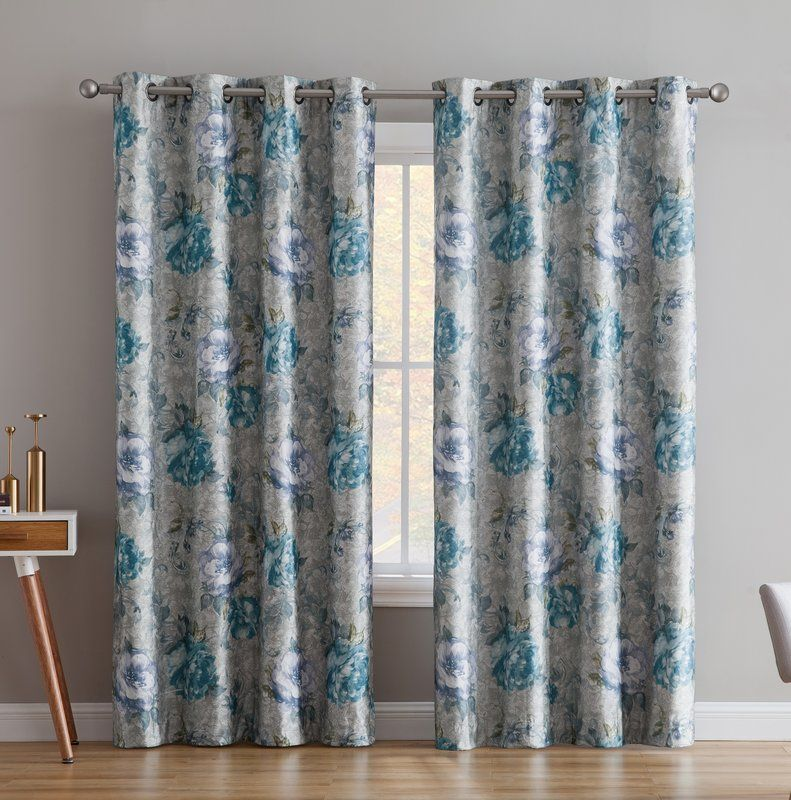 Enzo Floral Flower Max Blackout Thermal Grommet Curtain Panels