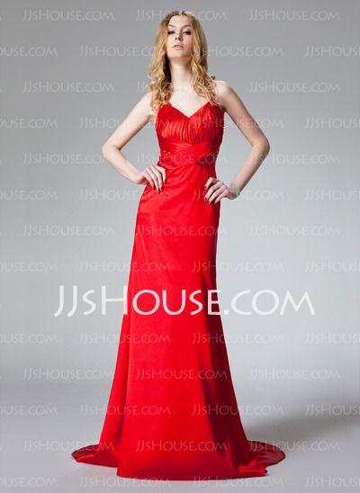 Prom Dresses - $108.99 - Sheath Halter Sweep Train Charmeuse Prom Dresses With Ruffle (018002780) http://jjshouse.com/Sheath-Halter-Sweep-Train-Charmeuse-Prom-Dresses-With-Ruffle-018002780-g2780