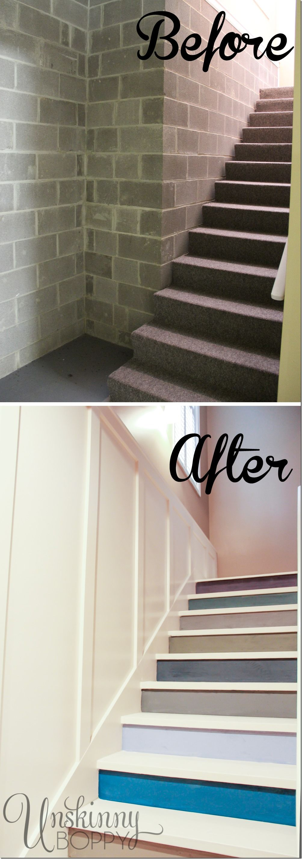 Best Before And After Of Basement Stairs Painted With 640 x 480