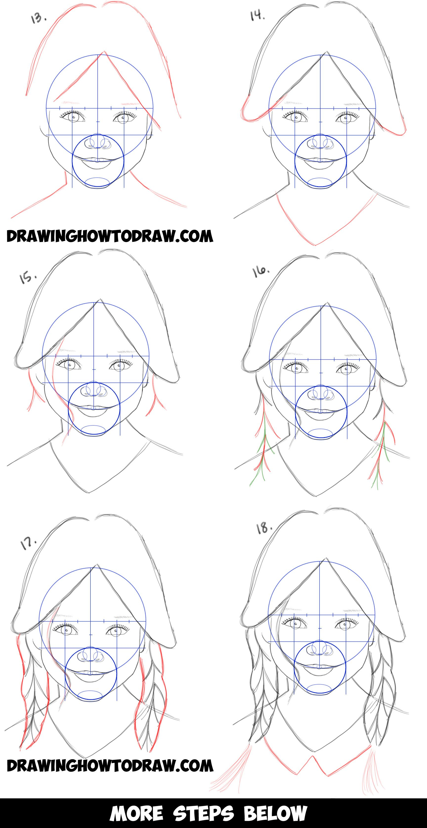 how to draw a female face easy step by step