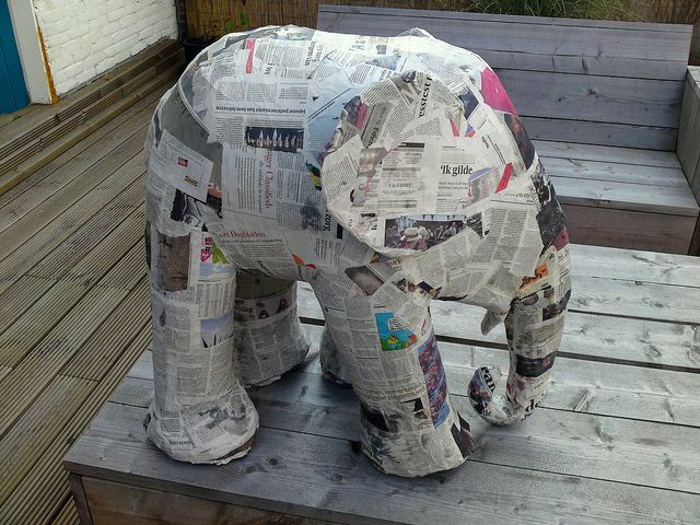 How to build an elephant in 5 easy steps step 2 got for Simple paper mache projects