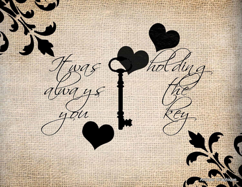 Antique Skeleton Key Brocade Love Romance 3 Quote Saying llustration Digital Download for Papercrafts Transfer
