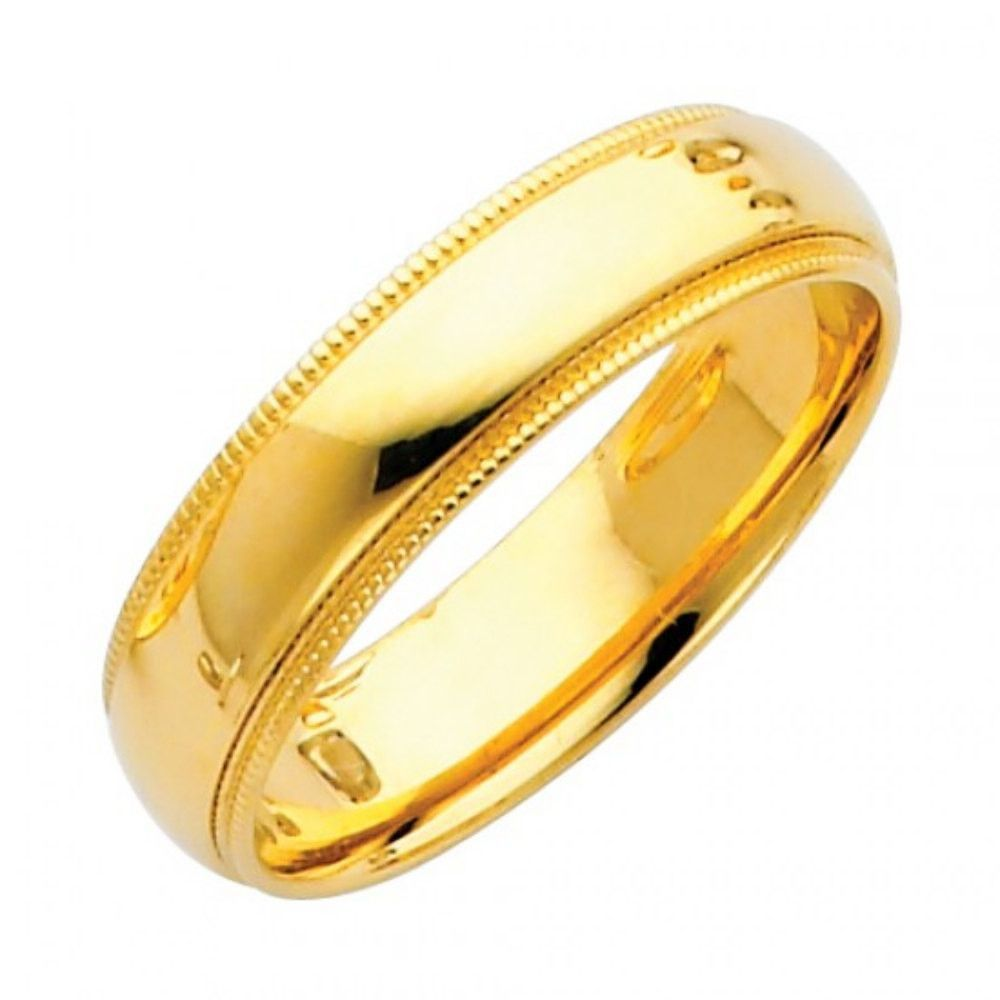 Solid 14K Yellow Gold Men Women His Hers Wedding Engagement Anniversary 5mm  Milgrain Band Ring Unisex