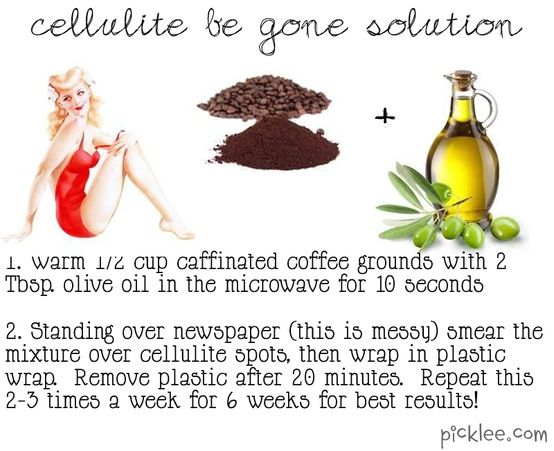 1: Cellulite Be Gone Solution: Home Remedy  Why it works? Coffee grounds and olive oil for cellulite removal works wonders because of the stimulants in the caffeine. Caffeine dilates blood vessels and increases blood flow which can lend the skin a more firm, toned appearance.