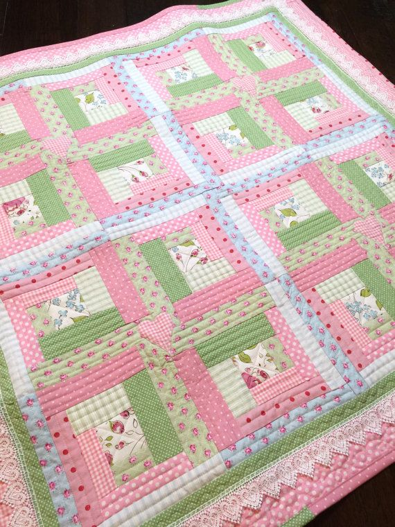Chic Baby Girl Quilt Pattern Log Cabin Quilt Pattern
