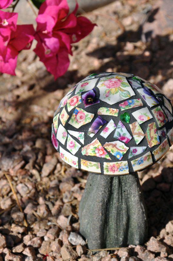 Mosaic Cement Mushroom Garden Decor with Vintage China