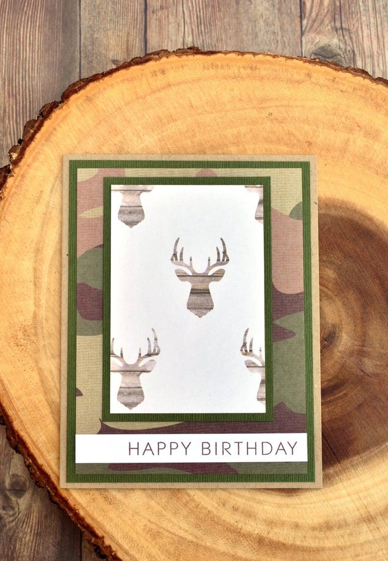 Camo Hunting Birthday Card Deer Birthday Card For Him Etsy Hunting Birthday Birthday Cards For Brother Birthday Cards For Him