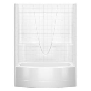 Aquatic Everyday Smooth Tile 60 In X 36 3 In X 77 3 In 1 Piece Curved Bath And Shower Kit With Left Drain In White 2603bstl Whhd Shower Kits Bathtub Shower Combo Bathtub Shower
