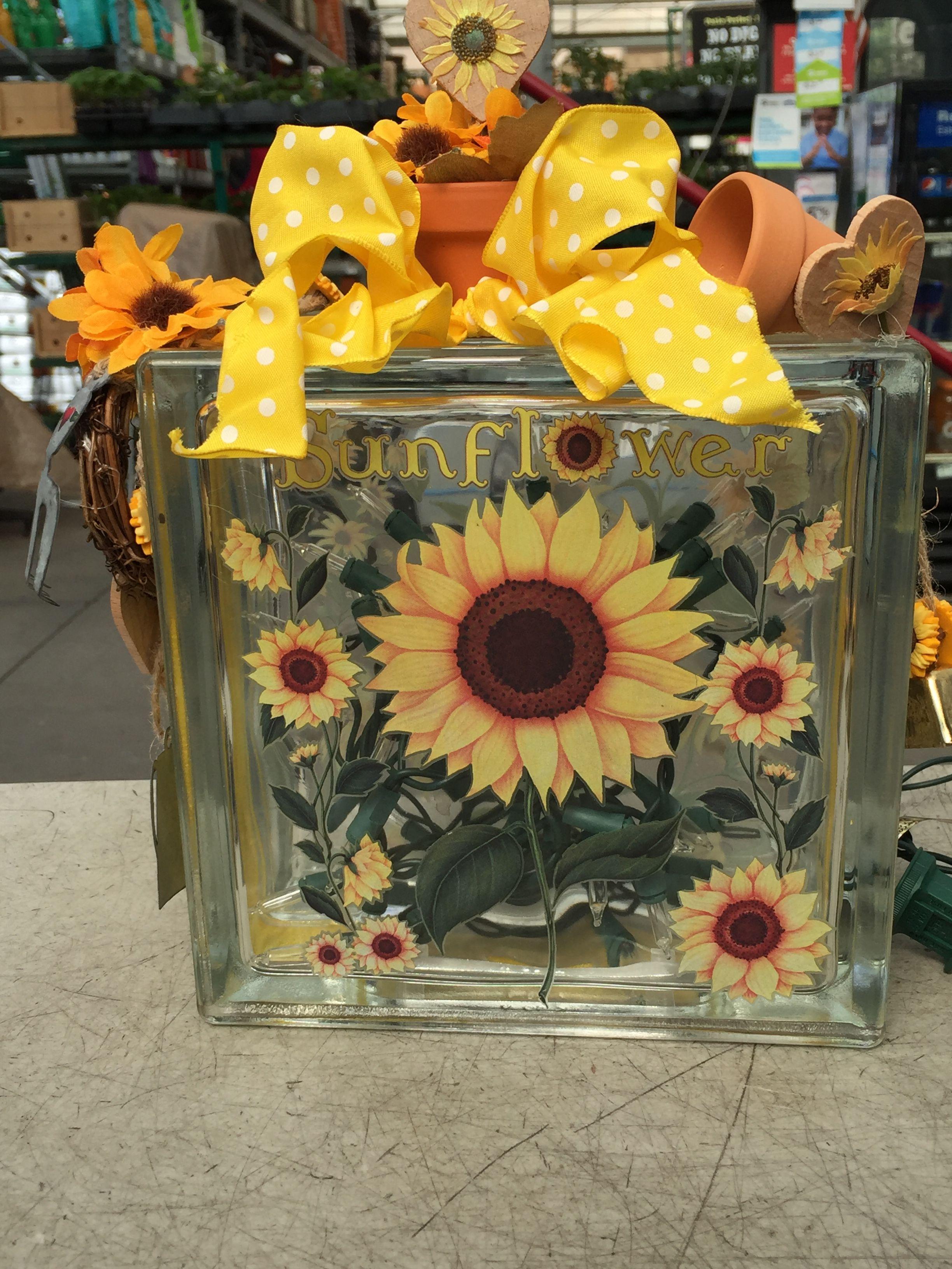 Sunflower Glassblock Painted Glass Blocks Glass Block
