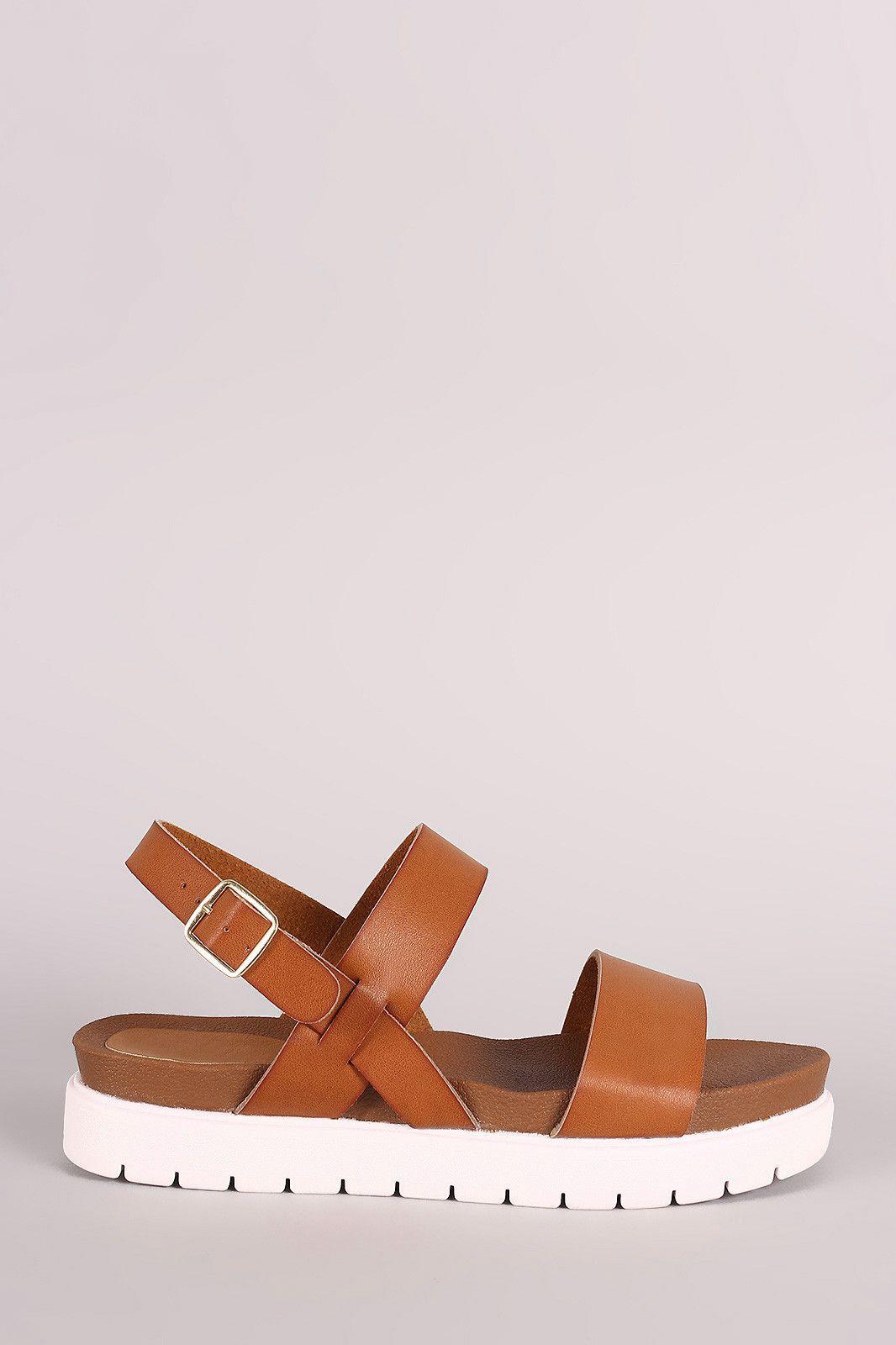 Bamboo Double Band Lug Sole Flatform Sandal
