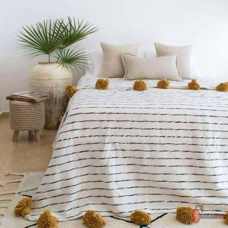 FREE SHIPPING Light brown beige cotton throw moroccan pompom blanket