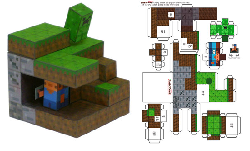 how to make minecraft toys out of paper