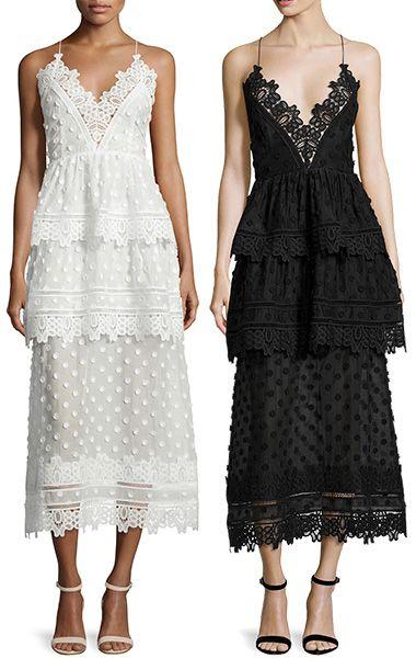 1dbbd2cc7 Self-Portrait Ivy Lace-Trim Open-Back Midi Dress in white and black ...