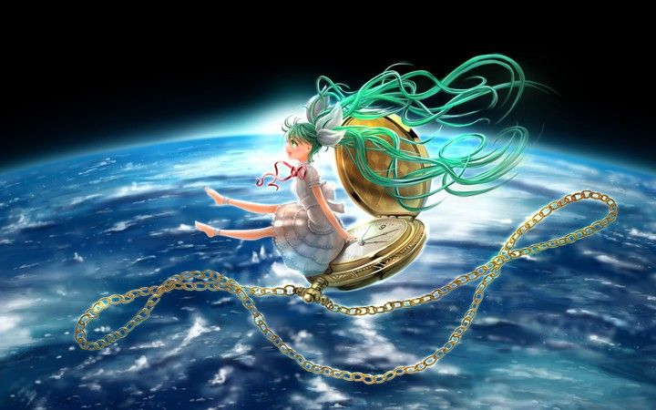 Hatsune miku girl watch chain vocaloid space earth