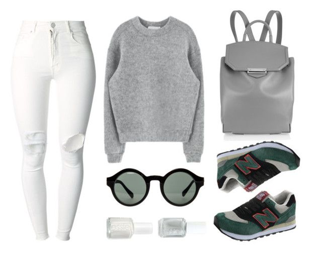 """""""Greenish"""" by baludna ❤ liked on Polyvore featuring (+) PEOPLE, Alexander Wang, Quay and Essie"""