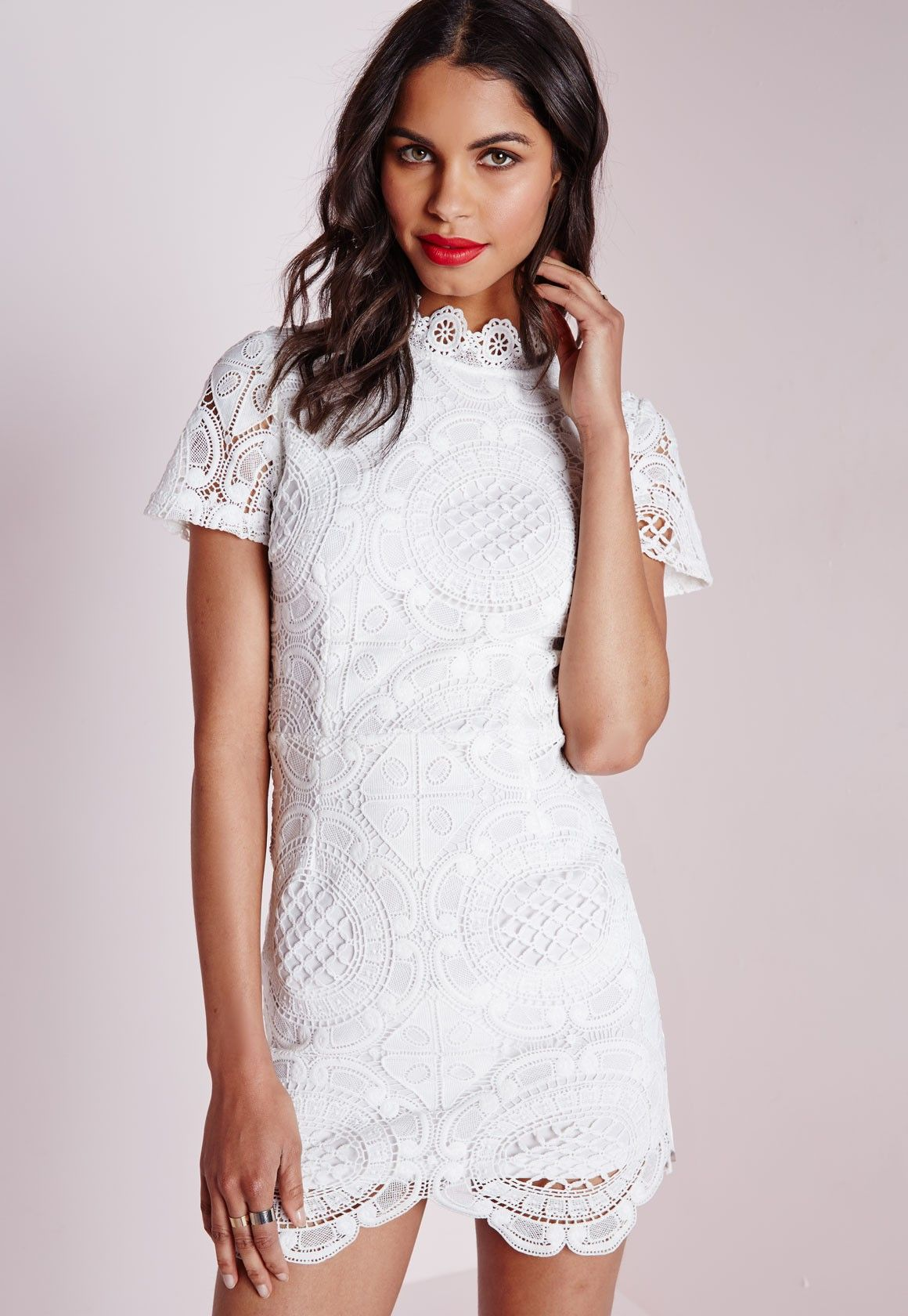 Missguided - Lace Short Sleeve Scalloped Hem Dress White ...