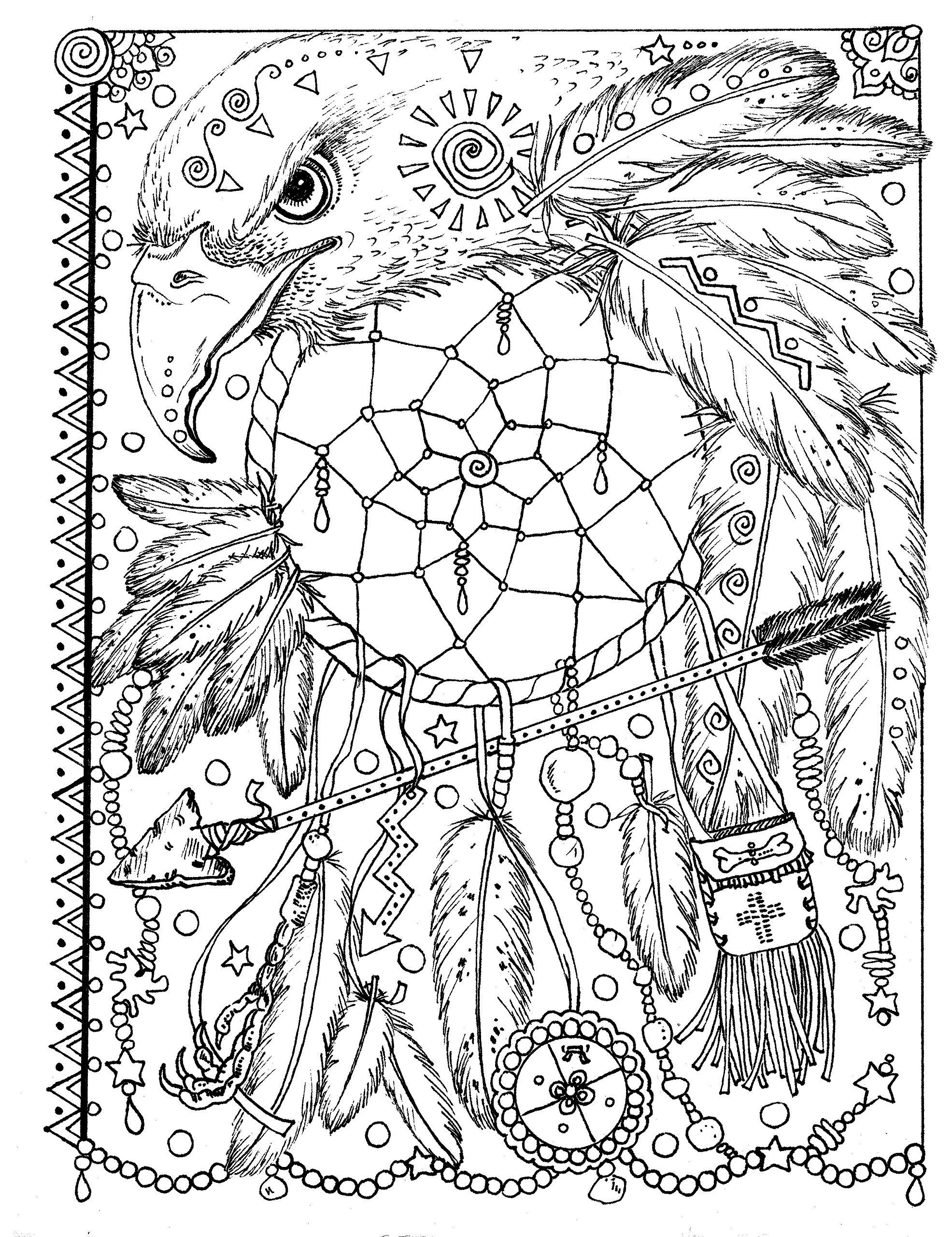 It is a photo of Gargantuan Printable Adult Coloring Pages Dream Catchers