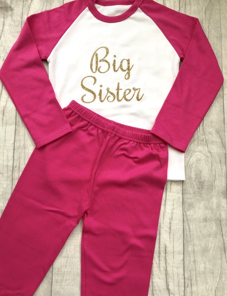 PERSONALISED PYJAMAS GIFT KEEPSAKE Light Pink Glitter Name Pink and White PJs