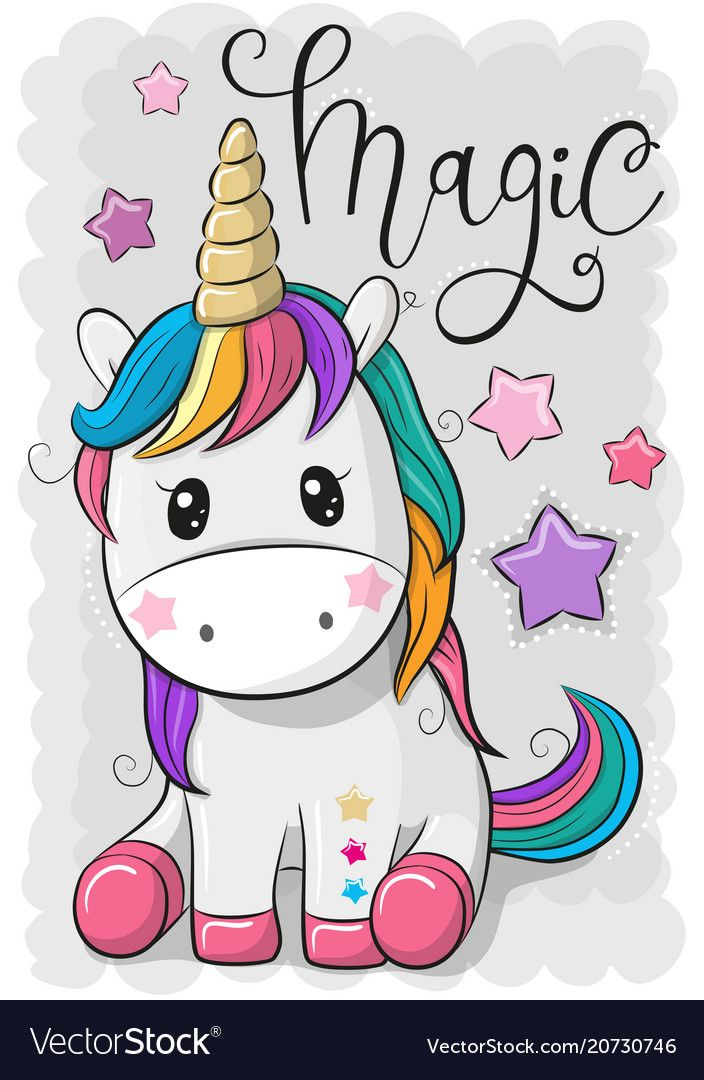 Cartoon Unicorn Isolated On A Gray Background Vector Image On
