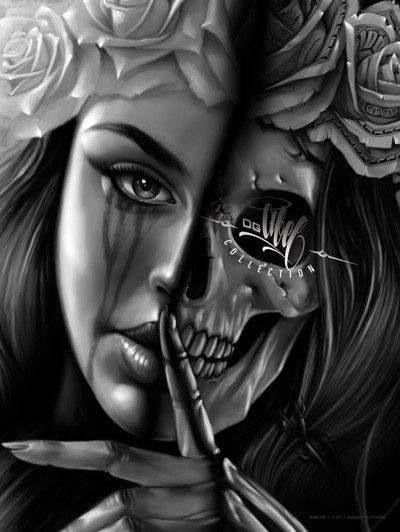 Ogabel Half Skull Half Face Tattoos Tattoos Art Skull Art
