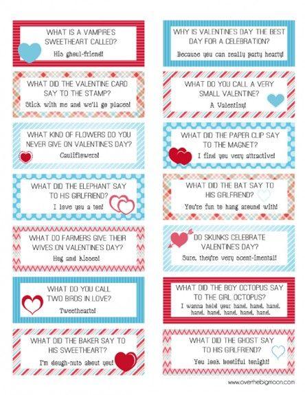 free valentine lunch box joke cardsanother good option for older – Funny Printable Valentine Cards