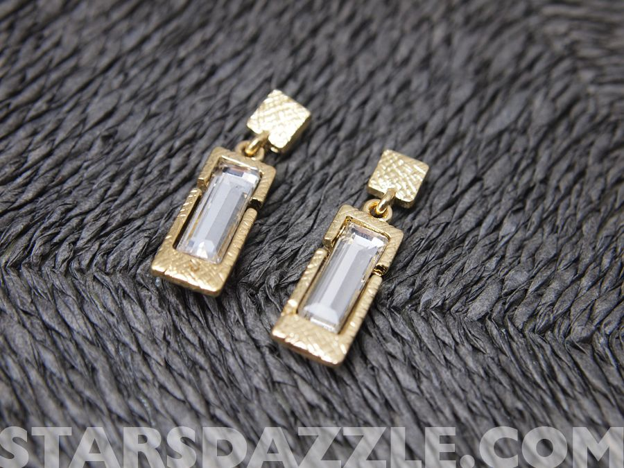 Royal Gold-Stick Bar Earrings STARSDAZZLE.COM