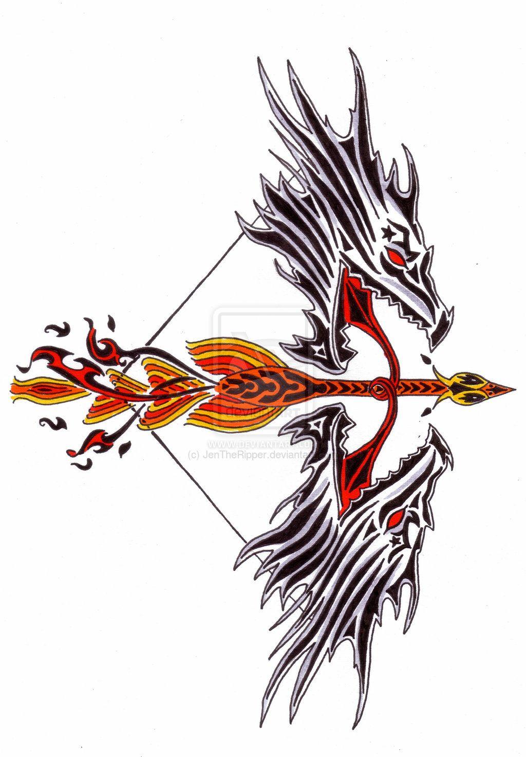 Tribal Bow And Arrow By Jentheripper Deviantart Com On Deviantart Bow Tattoo Designs Arrow Tattoos Back Tattoo