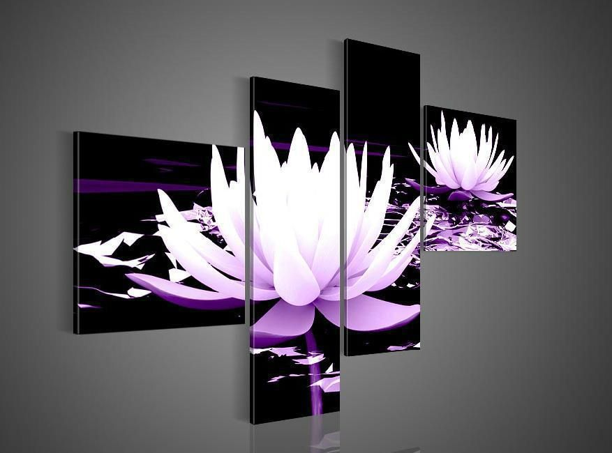 4 Piece Wall Art No Frameless Draw Modern Abstract Acrylic Flower Purple Water Lily Oil P Black And White Wall Art Flower Painting Canvas Modern Wall Decor Art