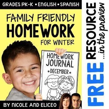Homework Calendar  Winter Kindergarten Activities  Homework