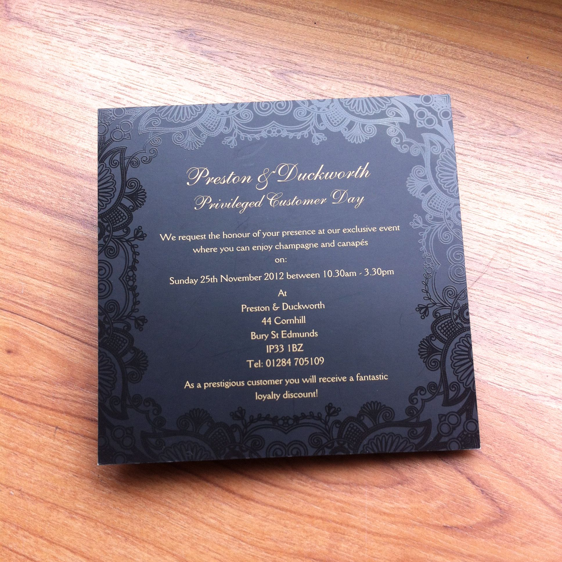 Spot UV invitation 400gsm silk with matt lamination and spot UV