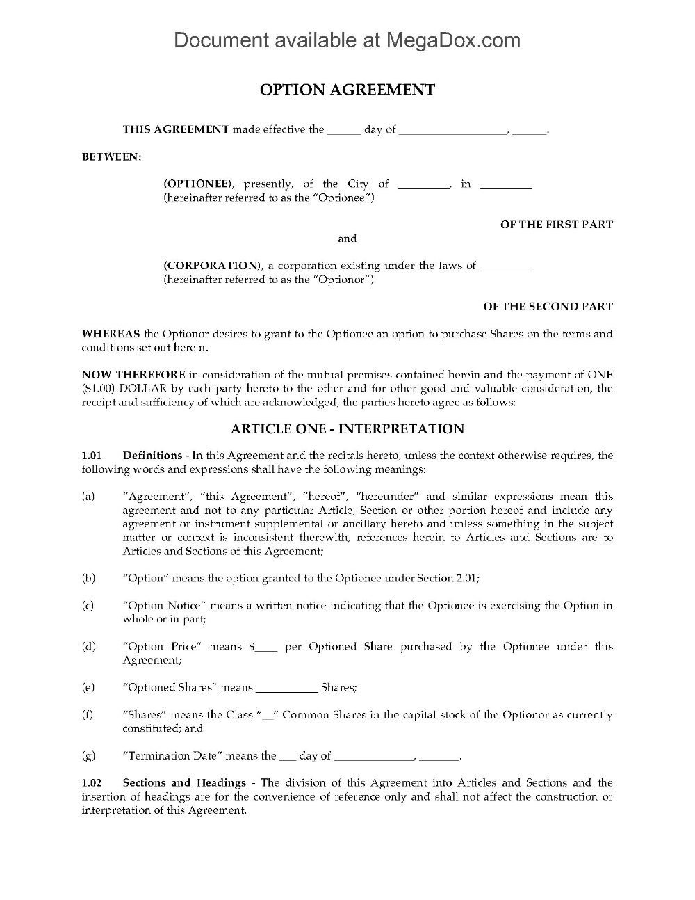Canada Stock Option Agreement Nonplan Legal Forms And