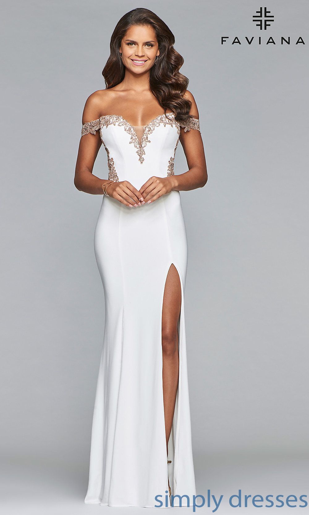 Long Faviana Off The Shoulder Sheer Back Prom Dress Faviana Prom Dresses Faviana Dresses Formal Dresses [ 1666 x 1000 Pixel ]