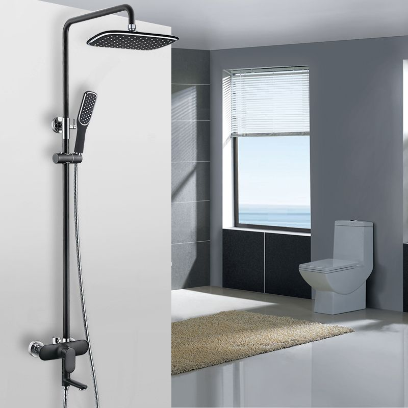 This modern, sleek black exposed shower system is a luxurious ...