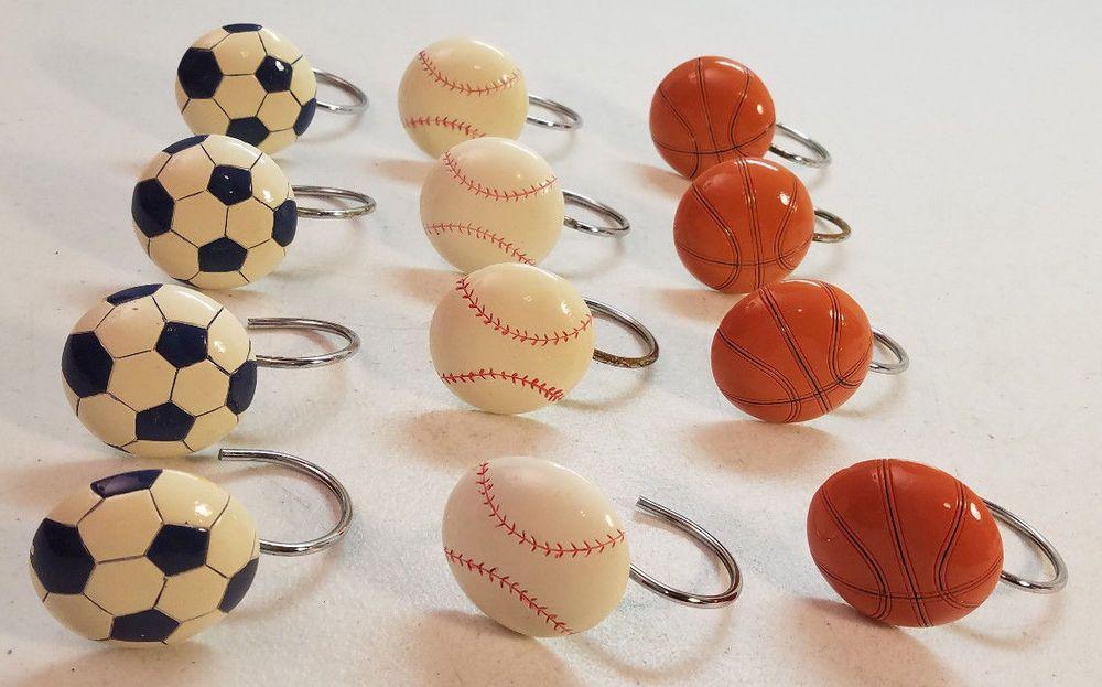 Sports Soccer Basketball Baseball Figures Shower Curtain Hooks Silver Tone Metal